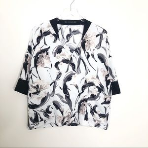 ZARA Drop Sleeve Floral Blouse with Pockets